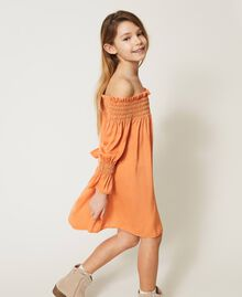 Robe épaules dénudées en crêpe georgette Orange «Iceland Poppy» Enfant 211GJ2QA2-02