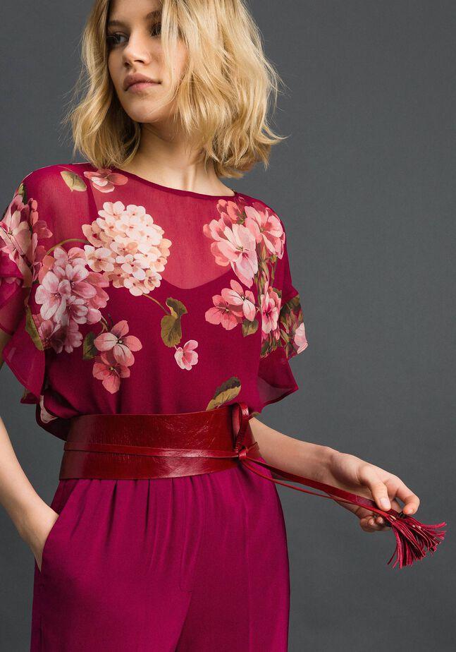 Блуза из крепона с цветочным принтом