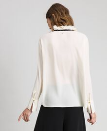 Crêpe de Chine blouse with flounce Vanilla White Woman 192MP2160-04