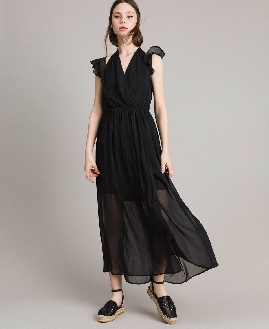 Длинное платье из крепона Черный женщина 191LB21HH-01