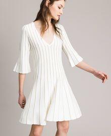Robe en maille avec côtes en lurex Blanc Neige Femme 191TP3250-03