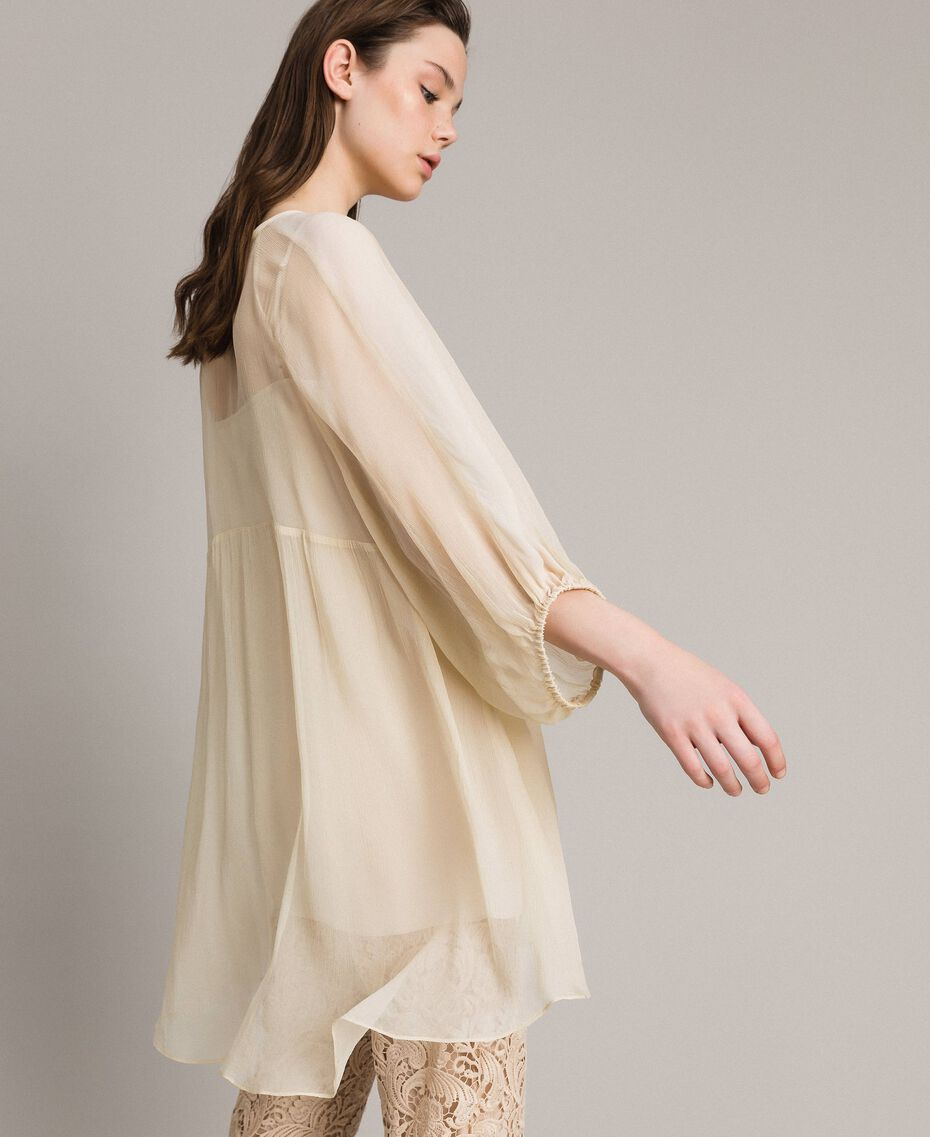Crepon and georgette dress Ecrù Woman 191ST2207-02