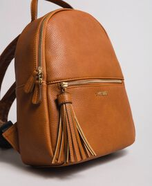 Faux leather backpack with tassel Leather Brown Woman 191TA7603-04