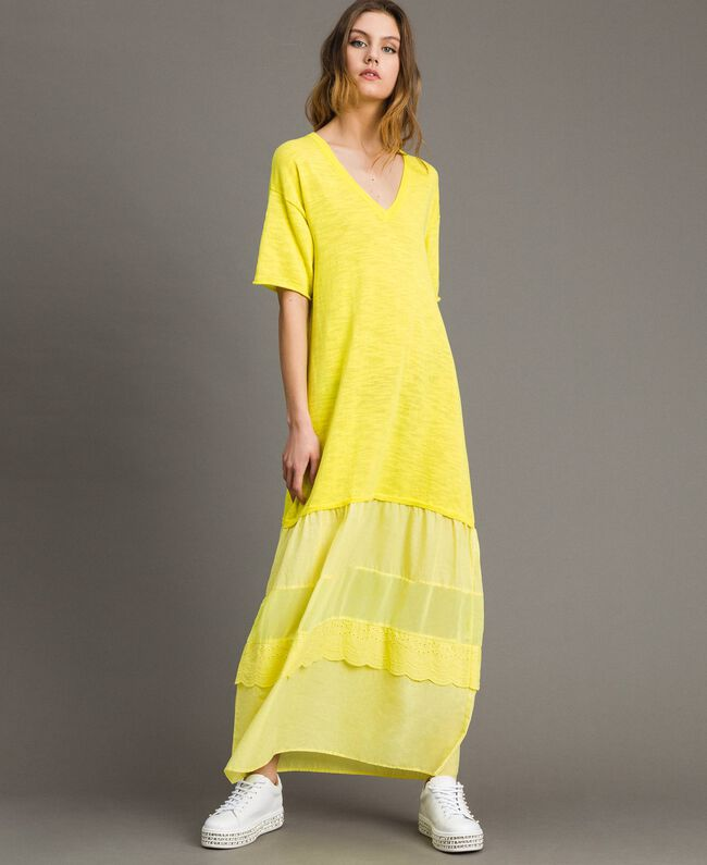 a669dee0ab Knitted dress with flounces and embroidery Yellow Lemon Woman 191ST3072-01