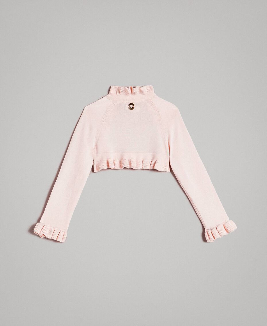 Viskose-Jacke mit Rüsche Blütenrosa Kind 191GB3Q92-0S