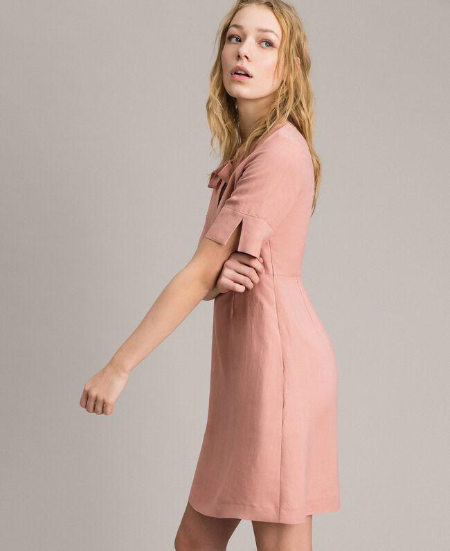 Robe en lin mélangé avec nœud Perle Rose Femme 191TP2204-03