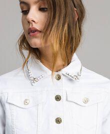 Jacke mit Rüschen und Stickerei Weiß Frau 191MT2442-04