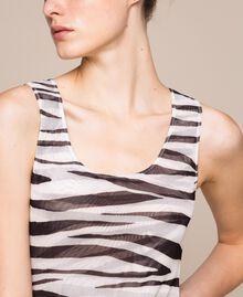 Animal print tulle sheath dress Zebra Print Woman 201TQ201D-04