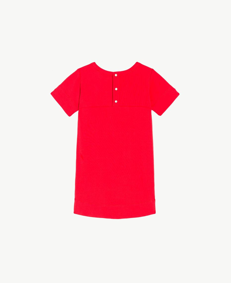 Robe logo Bicolore Rouge Grenadier / Fleurs Chantilly Enfant FS82SQ-02