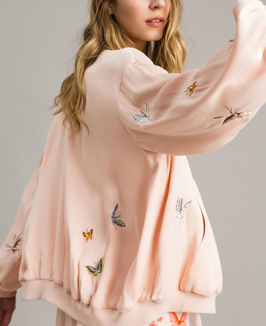 """Satin bomber jacket with butterfly embroidery """"Rose Sand"""" Pink Woman 191TT2111-02"""