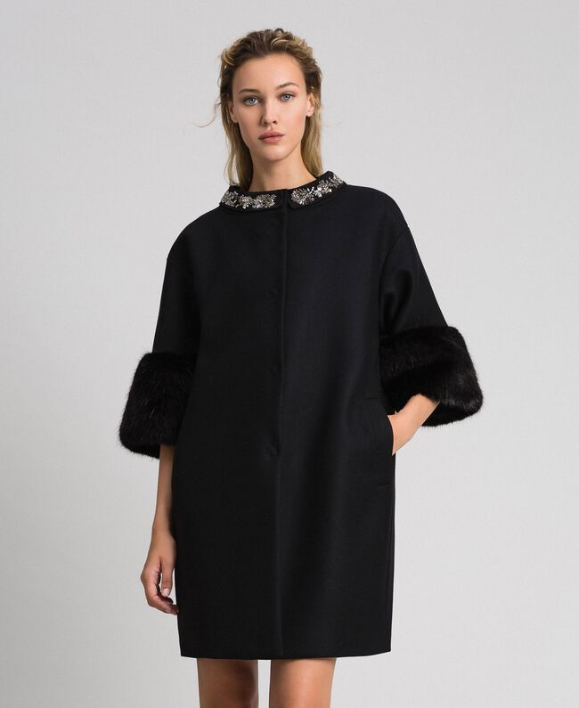 Embroidered coat with faux fur details Black Woman 192TT2162-01