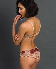 Two-tone lace Brazilian briefs Purple Red / Warm Beige Woman 192LL6D77-03