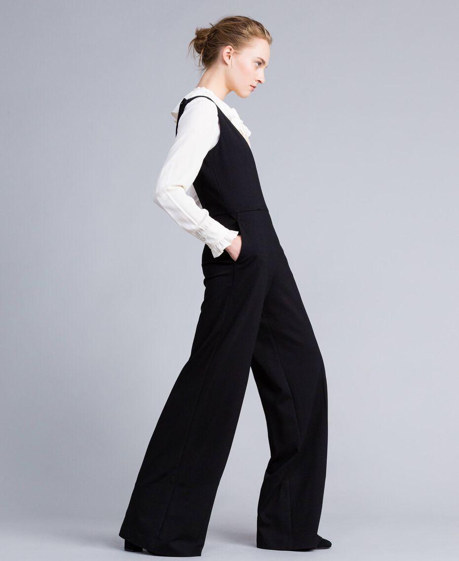 Combinaison sans manches avec chemise en soie mélangée Bicolore Noir / Blanc Neige Femme PA8212-02