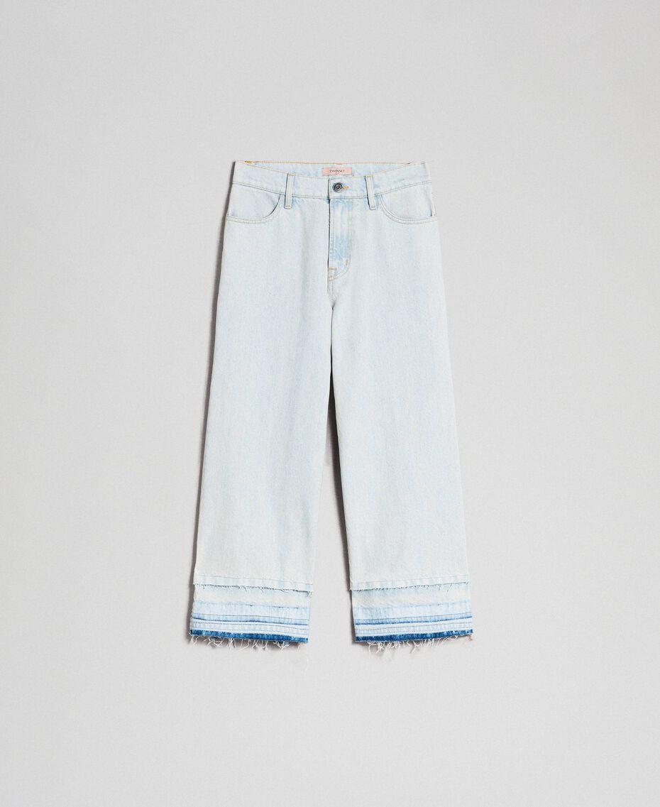Jeans wide leg con fondo sfrangiato Denim Chiaro Donna 192TT2460-0S