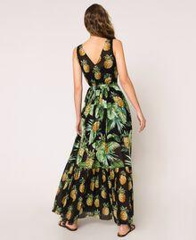 Vestido largo estampado con volantes Estampado Summer Fruits Negro Mujer 201TT2463-04