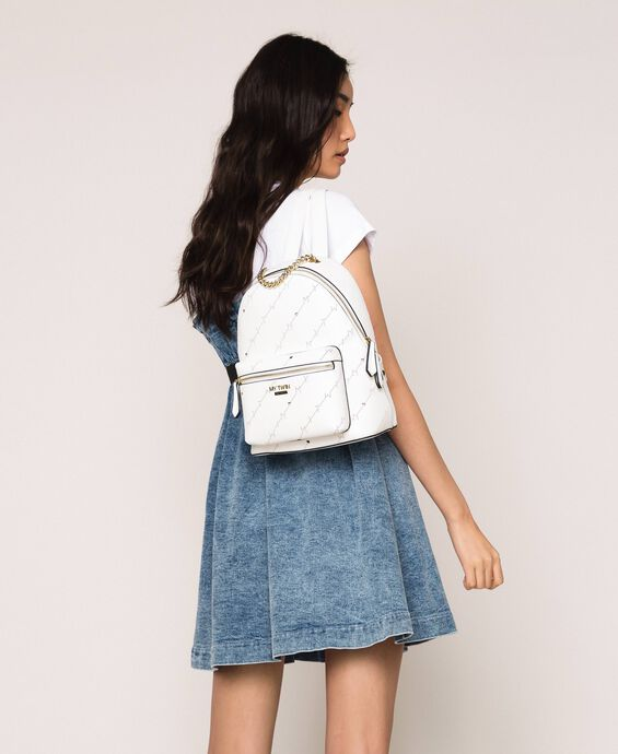 Openwork faux leather backpack with logo