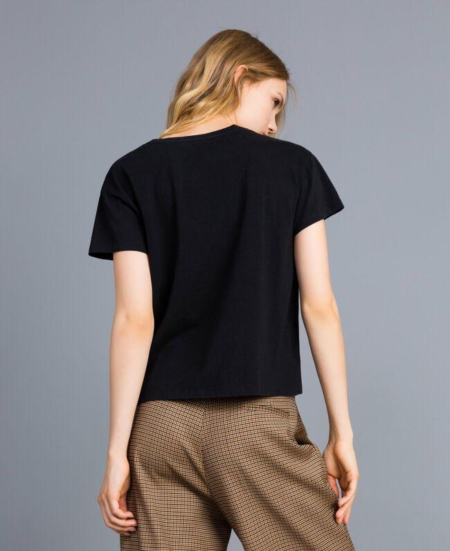 T-shirt en coton avec imprimé Noir Femme TA82ZP-03