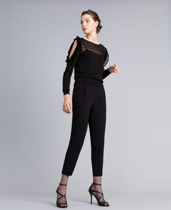 Pantalon de jogging en crêpe georgette Noir Femme PA82HK-01