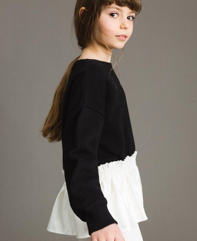 Baumwoll-Pullover mit Satin-Volant Zweifarbig Schwarz / Off White Kind 191GJ2401-03