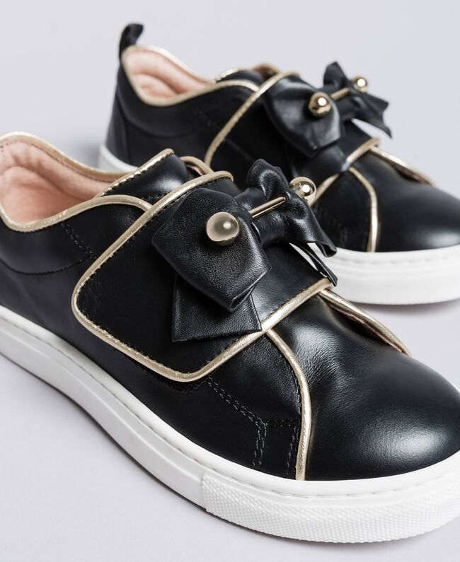 Leather sneakers with pearls Black Child HA88AE-04