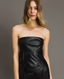 Faux leather bustier dress with fringes Black Woman 191TT2320-04