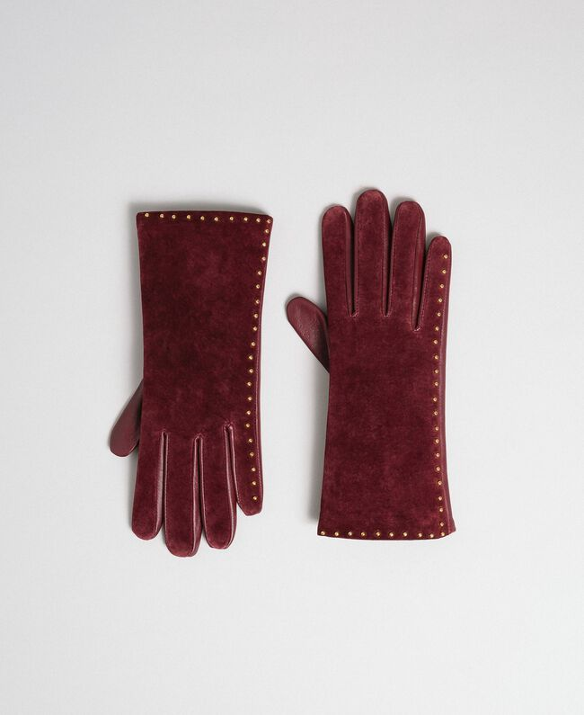 Touch screen gloves with studs Beet Red Woman 192TA4341-01