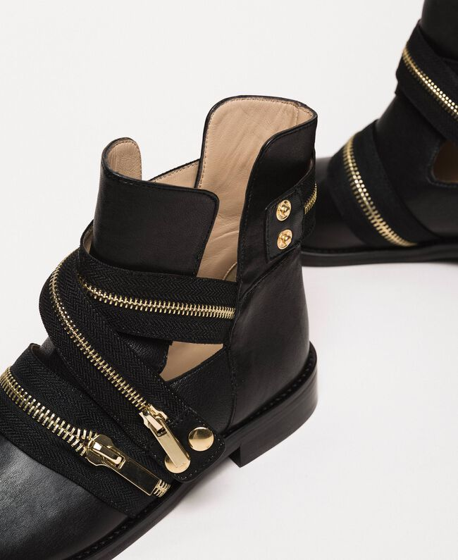 Leather biker boots with zip Black Woman 201TCP104-04