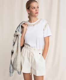 Linen blend shorts White Snow Woman 201TP2255-05