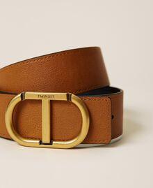 Cinturón reversible de piel con logotipo Bicolor Marrón «Cuero» / Negro Mujer 212TA4116-02