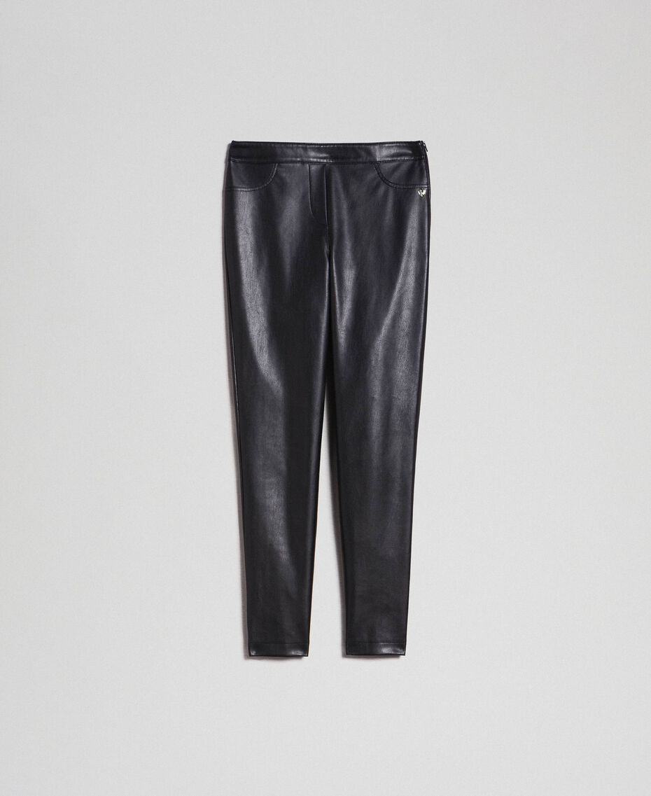 Faux leather leggings Black Woman 192MP2025-0S