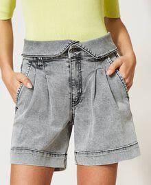 High waist denim shorts Grey Denim Woman 211MT2567-05