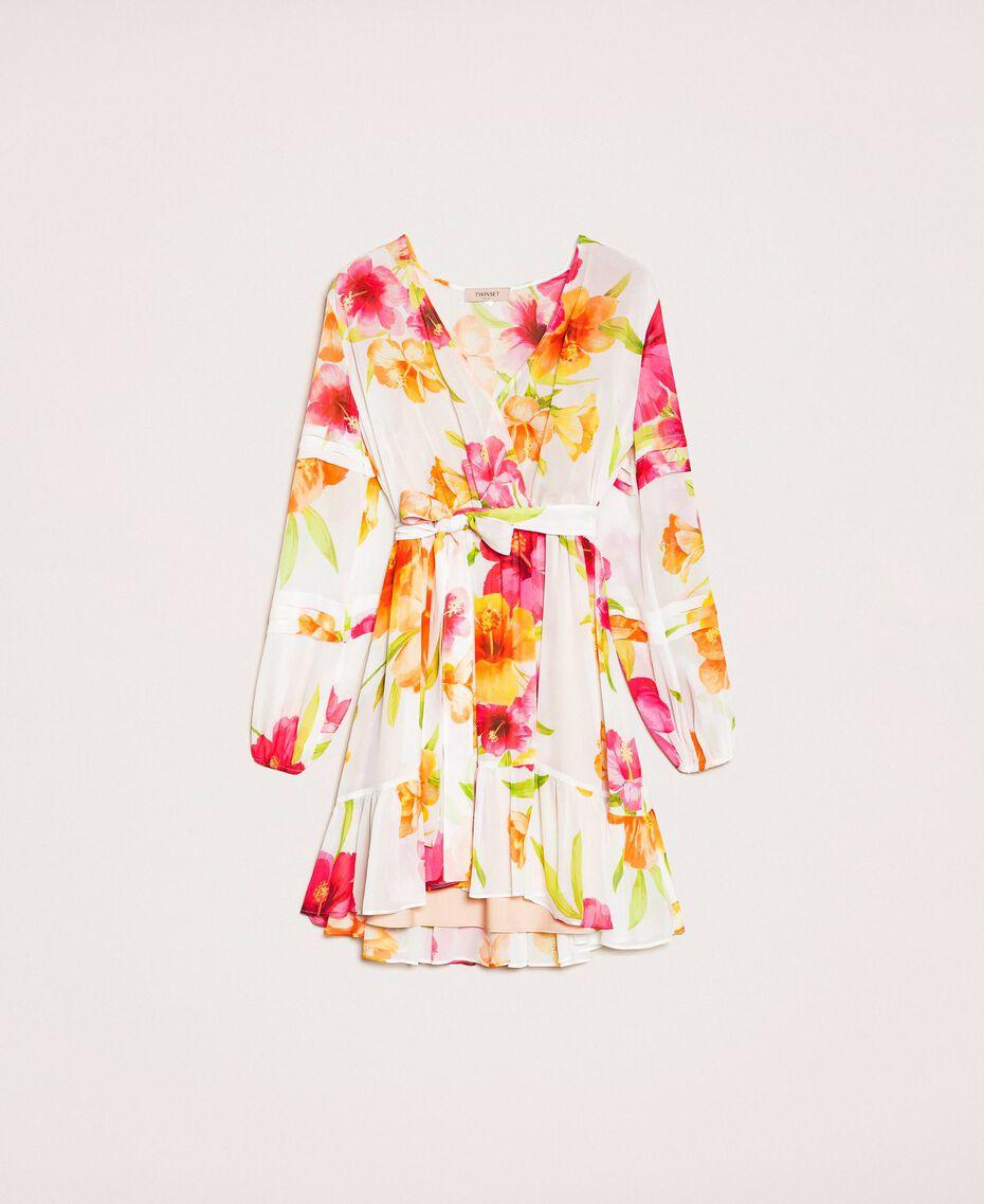Vestido de georgette de flores Estampado Hibiscus Nieve Mujer 201TT2492-0S