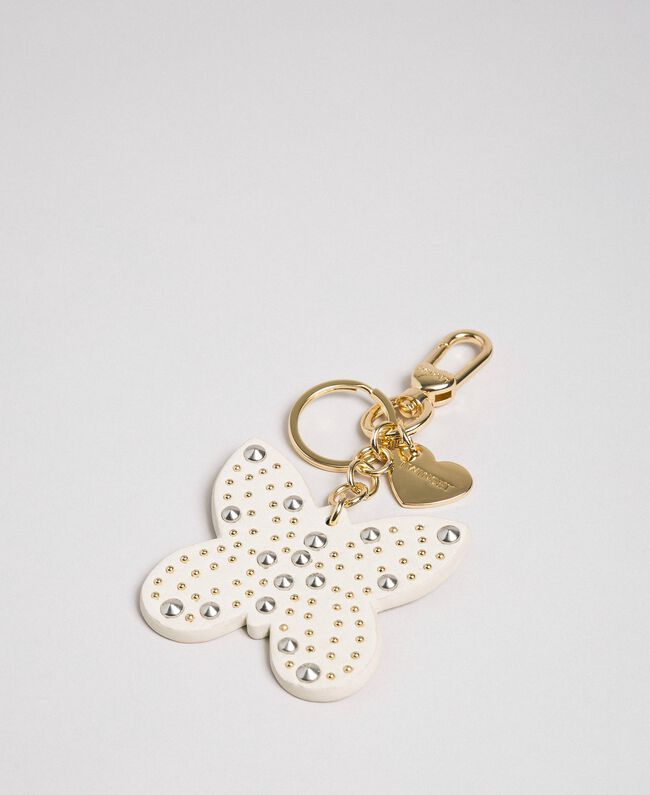 Faux leather butterfly key ring with studs Papyrus White Woman 192TA7282-01