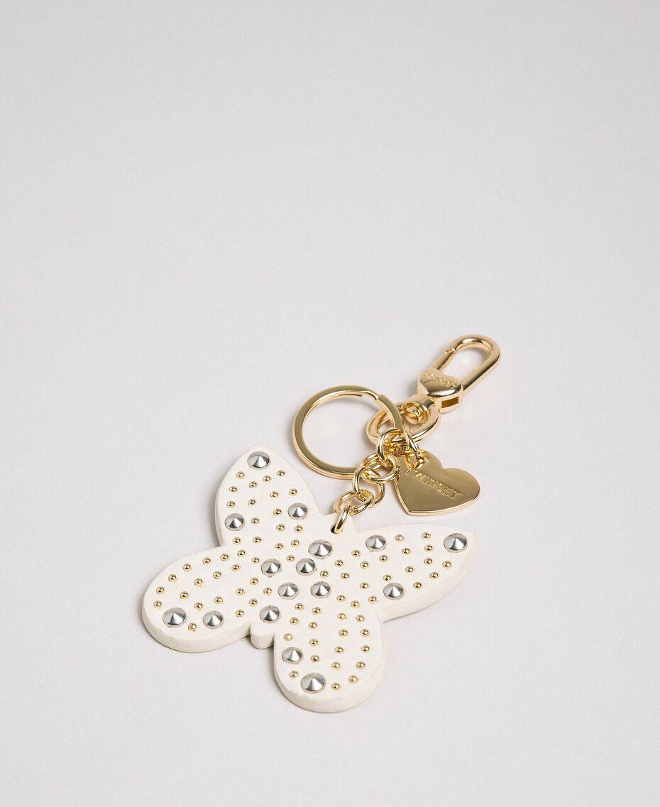 Schlüsselanhänger mit nietenbesetztem Schmetterling aus Lederimitat Weiß Papyrus Frau 192TA7282-01