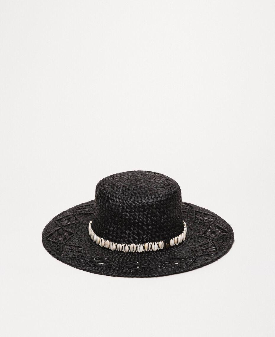 Соломенная шляпа с ракушками и стразами Черный женщина 201TO5401-01