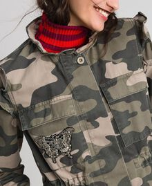 Camouflage print jacket with embroideries Camouflage Print Woman 192TP2032-04