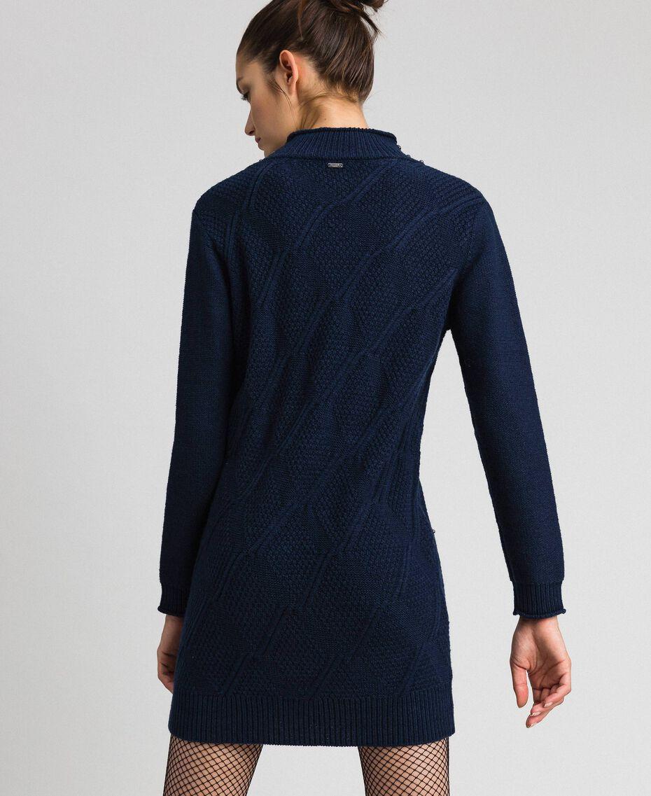 Minikleid aus Wollmischung mit Rauten und Nieten Nachtblau Frau 192ST3181-03