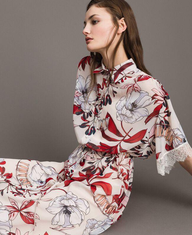 Robe longue en georgette à imprimé floral Imprimé Exotique Écru Femme 191ST2224-05