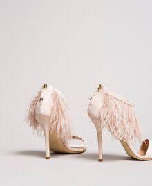 Sandali alti in pelle con piume Rosa Bocciolo Donna 191TCP210-03