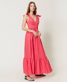 """Длинное платье из поплина Розовый """"Вишнево-розовый"""" женщина 211LM2EJJ-02"""