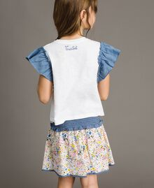 Jersey T-shirt and chambray details White Child 191GJ2650-03