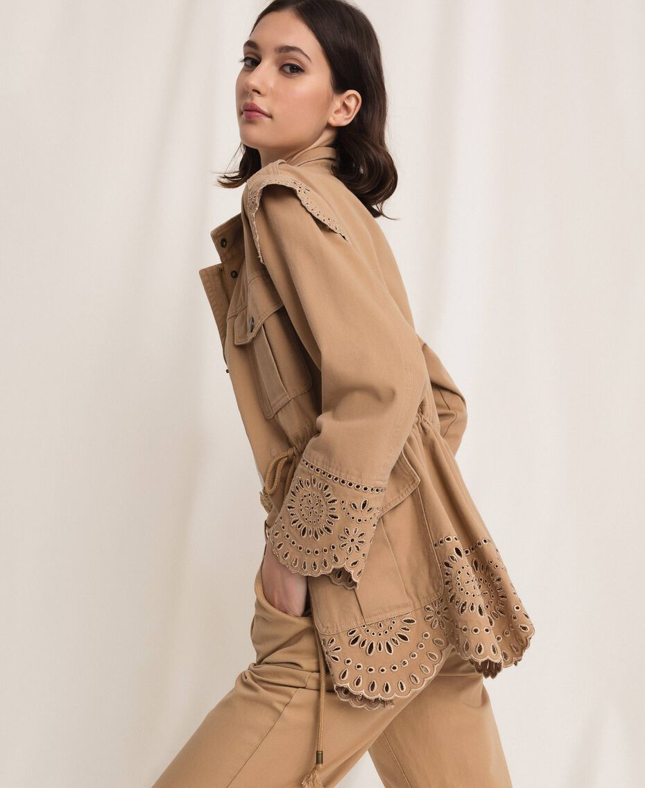 """Canvas jacket with broderie anglaise """"Dune"""" Beige Woman 201TP2011-02"""