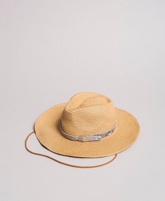 Hat with animal print strap