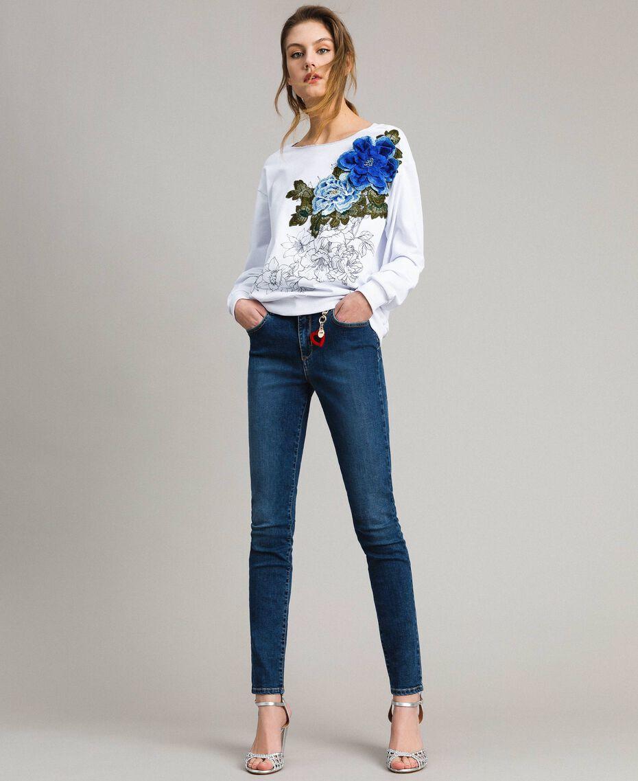 Sweatshirt mit Aufdruck und Stickerei Weiß Frau 191MT2351-01