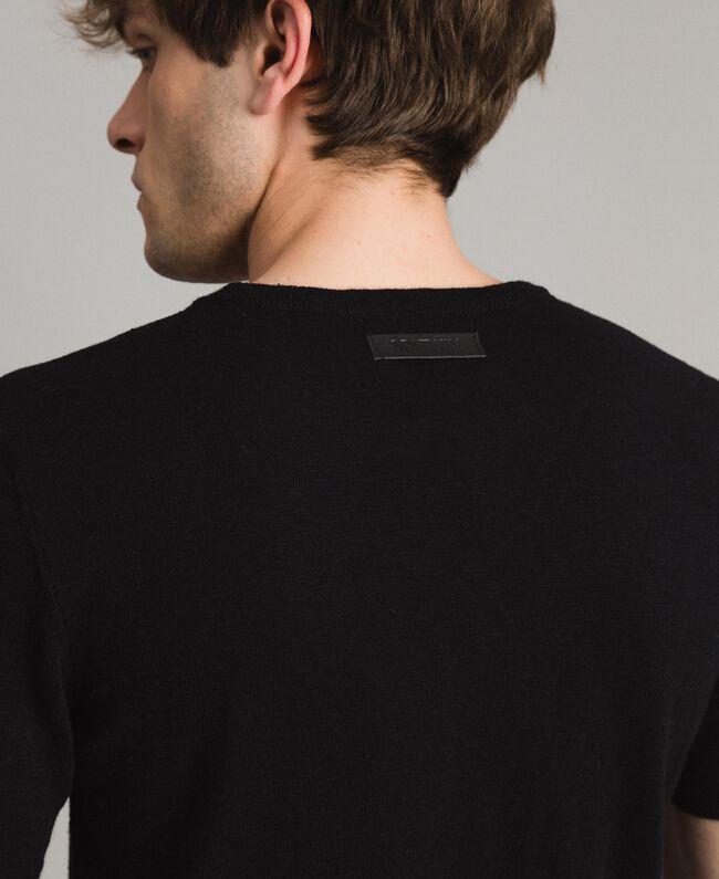 T-Shirt aus Slub-Baumwollmischung Schwarz Mann 191UT3071-04