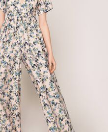 """Floral crêpe de Chine jumpsuit """"Quartz"""" Pink Flowered Print Woman 201MP2372-05"""