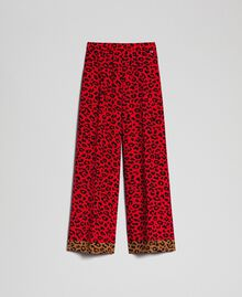 "Animal print palazzo trousers ""Poppy"" Red / Black Animal Print Woman 192MP2374-0S"