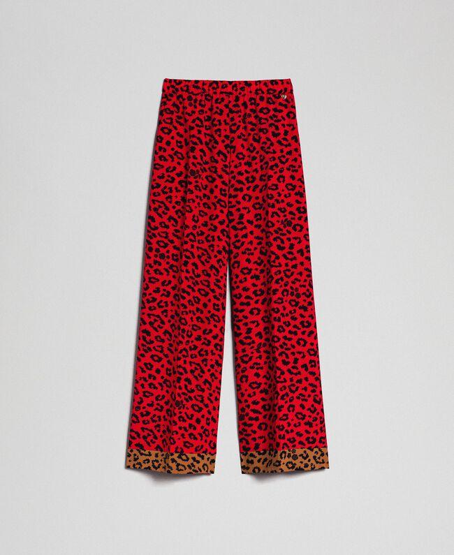 Pantalon palazzo avec imprimé animalier Imprimé Animalier Rouge Coquelicot/ Noir Femme 192MP2374-0S