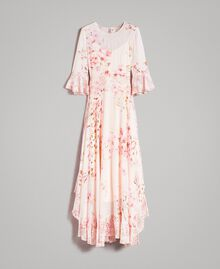 """Georgette-Maxikleid mit Blumenmuster Motiv """"Blossom / Peach Mix"""" Pink Frau 191TP2718-0S"""