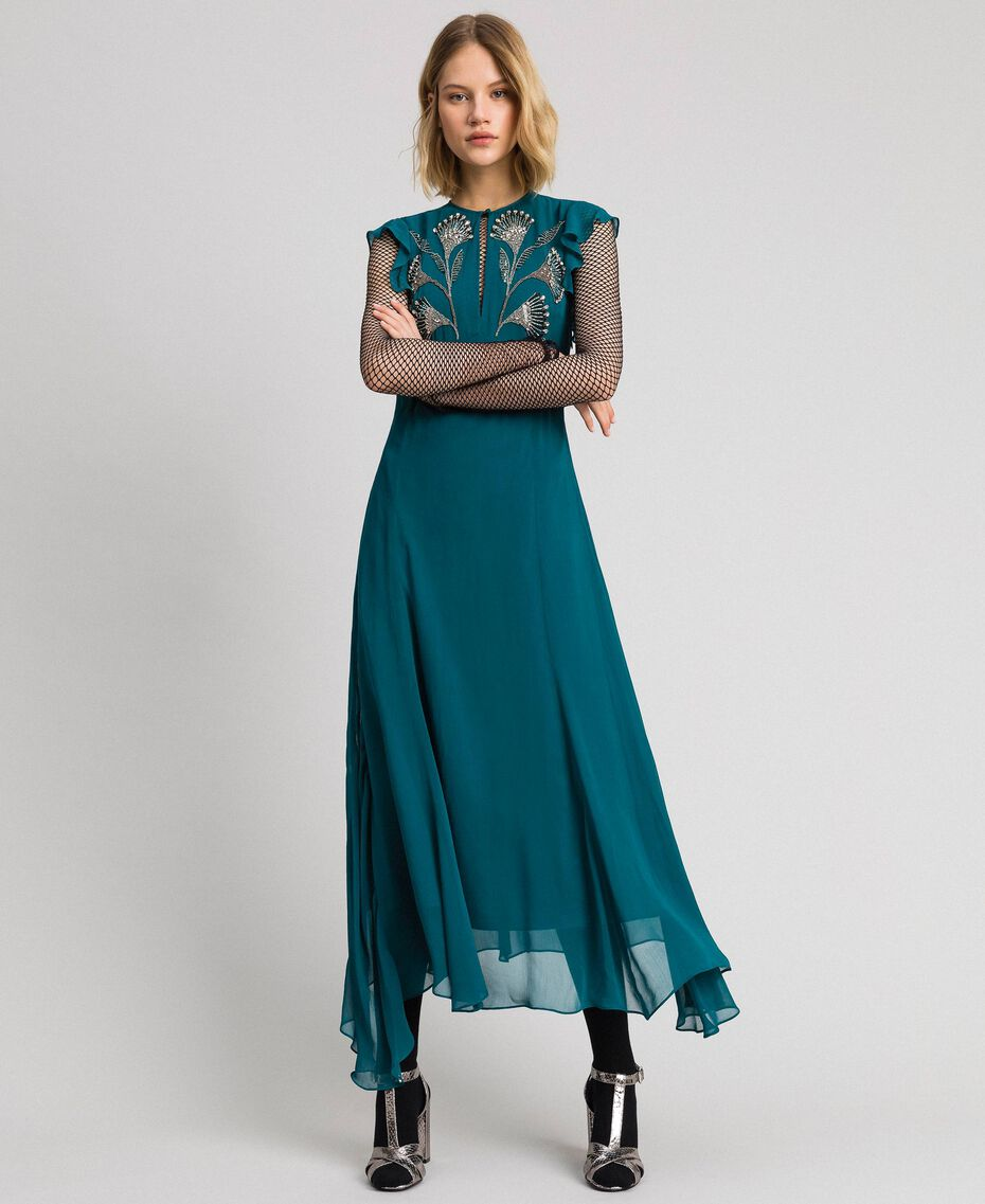 Long georgette dress with floral embroidery Mineral Green Pale Blue Woman 192TP2161-02